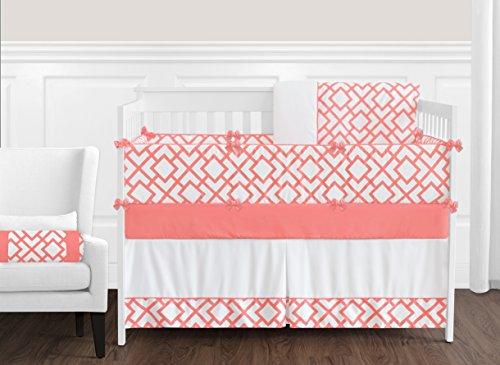 (Sweet Jojo Designs 9-Piece Modern White and Coral Diamond Geometric Crib Bed Bedding Set for a Newborn Baby Girl )