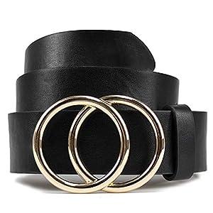 Women Leather Belt for Jeans Dress Waist Belts with Double Ring Buckle by LOKLIK