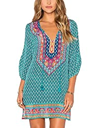 Urban CoCo Womens Retro Bohemian Print Shift Tunic Dress