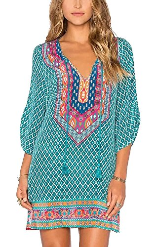- Women Bohemian Neck Tie Vintage Printed Ethnic Style Summer Shift Dress (2XL, Pattern 18)