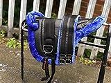 Equipride Ridiing Bareback Pad Shetland & Mini Horse Pony Saddle with Girth Faux Mink BLUE (Shetland (Small Pony))