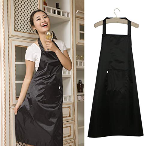 Aprons for Women with Pockets Water Resistant Adjustable Kitchen Aprons Dish Washing Grooming Chef Aprons,100% Nylon Waterproof for Commercial Grade or Home Use, Unisex - Black ()