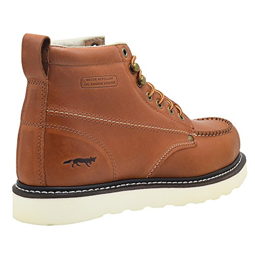 "Golden Fox Steel Toe Work Boots Men's 6"" Moc Toe Wedge Comfortable Boots for Construction"