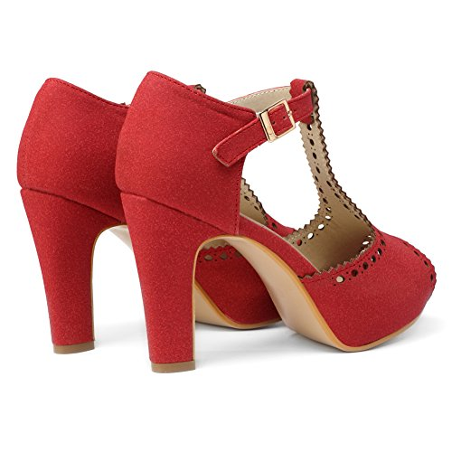 Straps Red Women's Dress Vintage Suede Sandals Heeled getmorebeauty Block Ankle Shoes T wRnXUnxq4