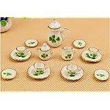 SHINA 15pcs Dollhouse Miniature Dining Ware Porcelain Tea Set Dish Cup Plate-Cherry (trefoil)