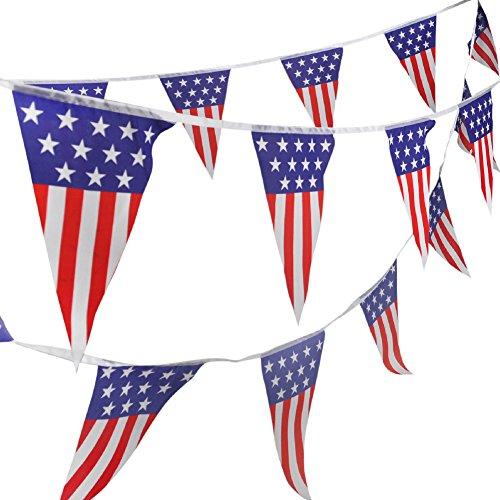 Aspire 21.3 Ft. Spirit of America USA Pennant Curtain Hanging Banner For Decorations & Birthdays, Patriotic USA String Flags (Pennants Spirit School)