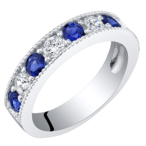 Sterling Silver Created Blue Sapphire Milgrain Half Eternity Ring Band Size 8