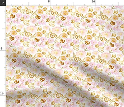 Rose Gold Fabric - Peach Pink Rosettes Abstract Botanical Spring Garden Pattern 5 Softness Rosette Print on Fabric by The Yard - Chiffon for Sewing Fashion Apparel Dresses Home -