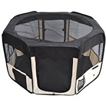 PawHut 49.2-inch Soft Pet Playpen Folding Tent Kennel Puppy Cat Dog Exercise Crate w/ Bag