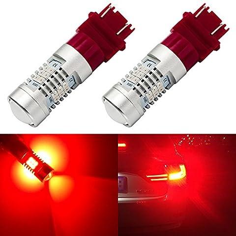 ENDPAGE 3157315630573056 LEDBulb2-pack, Brilliant Red, ExtremelyBright, 21-SMD with Projector Lens, 12-24V,Works asBrake Lights, (Toyota Sienna Third Brake Light)