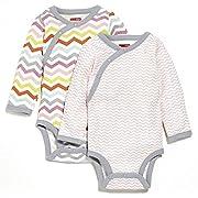 Skip Hop SkipHop Baby Girls' Starry Chevron Side-Snap Long Sleeve Bodysuit Set, Pink, 6 Months