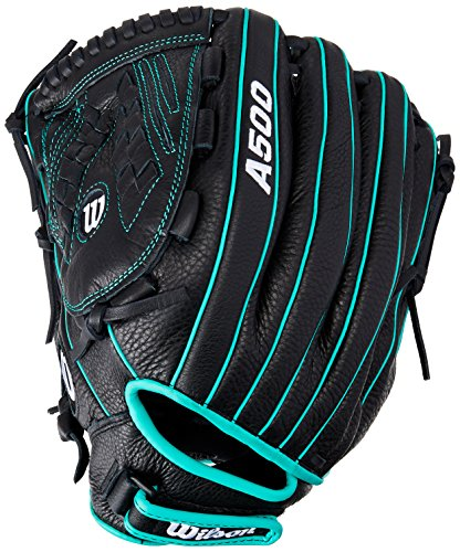Wilson Siren Fastpitch Softball Glove, Black/Teal/White, Left Hand Throw, 12.5-Inch (Glove Ball Fastpitch Youth)