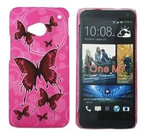 Kit Me Out ES ® Carcasa plástico + Protector de pantalla con gamuza de microfibra para HTC One M7 - Rosa Mariposas