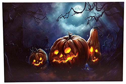 OSW LED Lighted Spooky Halloween Pumpkin Art Canvas Light up Picture 6 Hour Timer (Halloween Art Wall Led)