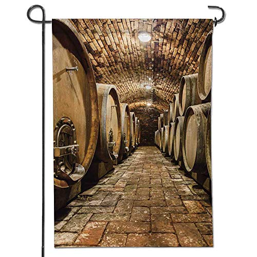 - Jiahonghome Flowers Welcome Garden Flag Rows of Oak Barrels in Underground Wine Cellar Vertical Outdoor & Indoor Decorative Double Sided Flag 22