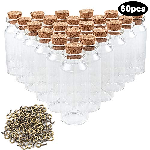 CUCUMI 60pcs 25ml Mini Glass Bottles with Cork Stoppers Wish Bottles Glass Jars Bottles with 100pcs Eye Screws for Arts & Crafts, Projects, Decoration, Party Favors...