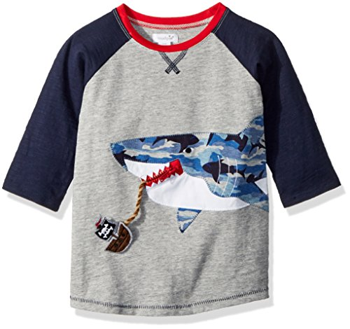 Mud Pie Baby Boys Shark Camo Long Sleeve Raglan T-Shirt, Gray, (Felt Applique Tee)