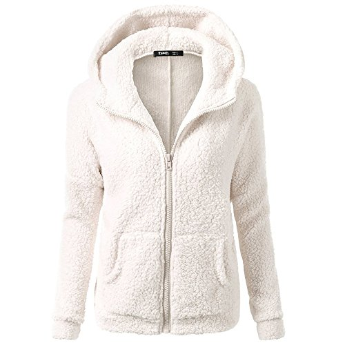 Clearance Winter Fleece Jackets,WUAI Womens Hoodie Sweater Wool Full-zip Plus Size Casual Outdoors Stylish Outwear(White,US Size L = Tag XL) -