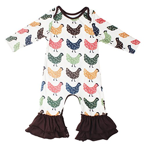 Slowera Baby Girls Cotton Long Sleeve Floral Ruffles Romper (Chick, S: 12 Months)