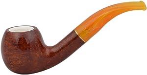 SUN (amber 834) briar meerschaum lined apple tobacco smoking pipe