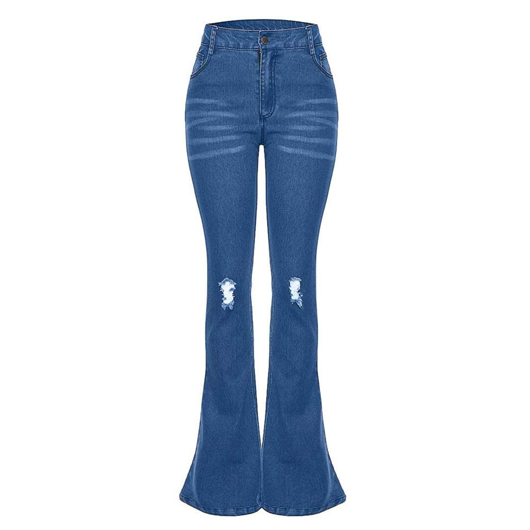 BU Women Jeans Denim Hole Female Mid Waist Stretch Slim Flare Pants Denim Jeans