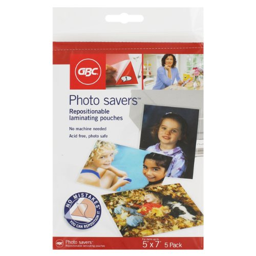 (GBC Photo Savers Repositionable Laminating Pouches, 5 Inches x 7 Inches, 5 Pouches)