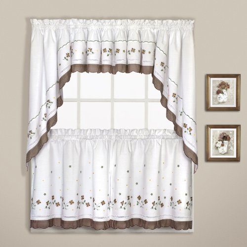 United Curtain Gingham Embroidered Kitchen Tiers, 60 by 36-Inch, Taupe, Set of 2