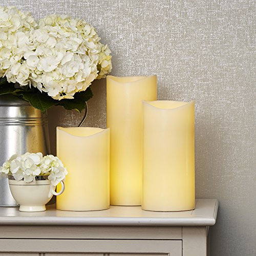 Flameless Ivory Pillar Candles with Remote | Wax, Warm White LEDs, Wavy Edge, Remote, Batteries and Timer Included - Set of 3 Romance Collection Table Lamp
