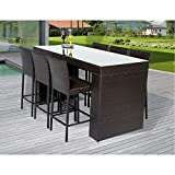 Delacora NAPA-BARTABLE-WITHBACK-6 Wine Country 7-Piece Aluminum Framed Outdoor Bar Set with Rectangular Glass Tabletop and Solid Back Barstools