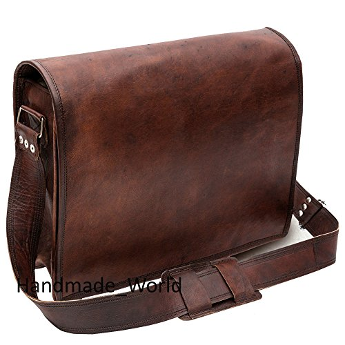 4ab70667c2eb Leather Messenger Laptop Bag for Men - Vintage Satchel Shoulder Cross Body  Bags for Women 15 inch Full Flap by Handmade World - Buy Online in Oman.