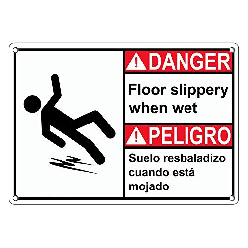 Weatherproof Plastic ANSI DANGER Floor Slippery When Wet Bilingual Sign with English & Spanish Text and (Spanish Wet Floor)