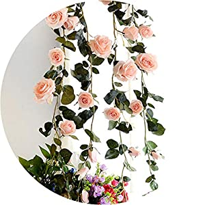 be-my-guest Silk Roses Ivy Vine with Green Leaves for Home Wedding Decoration Artificial Leaf DIY Hanging Garland Artificial Flowers 1.8M 87