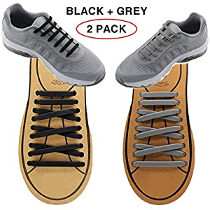 Extra No Tie Shoelaces for Men and Women - Best in Sports Fan – Waterproof Silicon Flat Elastic Athletic Running Shoe Laces with Multicolor for Sneaker Boot Board Shoes and Casual (Black + Grey)