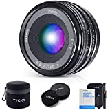 TYCKA 35mm F1.7 Manual Focus Lens for Sony E-Mount APS-C Mirrorless Cameras with Lenspen, Air Blower, Black