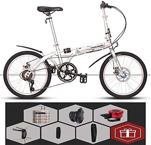 SYLTL Bicicleta Plegable Urbana 20in Unisex Absorción de Choque Confort Bicicleta Plegable Portátil Folding Bike,Blanco: Amazon.es: Hogar