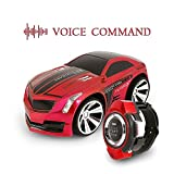 IEKA Voice Command Car, Rechargeable Radio Commanded by Smart Watch, Creative Voice-activated RC Car, Dazzling Headlights and Cool Brakes (Red)