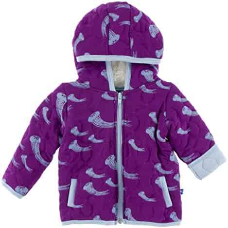 145ed727f KicKee Pants Little Girls Quilted Hoodie Jacket with Sherpa-Lined Hood