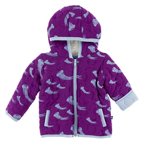 KicKee Pants Little Girls Quilted Hoodie Jacket with Sherpa-Lined Hood - Starfish Jellies with Pond, 4T