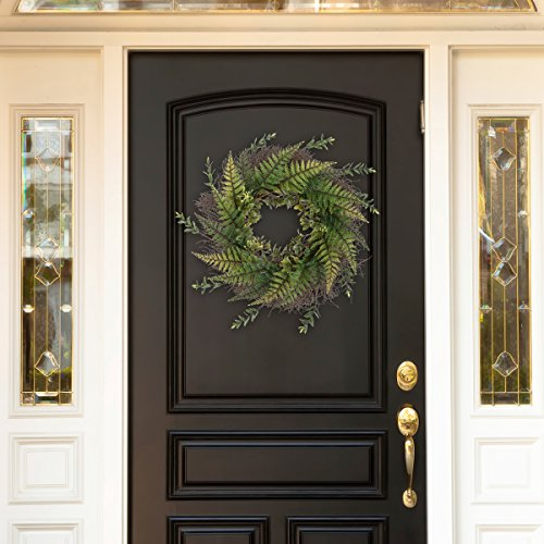 Grapevine Base - Pure Garden 50-217 Artificial Fern Grapevine Base-UV Resistant Greenery Wreath with Blossoms, Slim Profile for Front Door, Wall Decor, 21