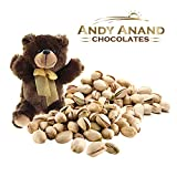 Andy Anand Chocolates- Premium California Organic Pistachios with light Sea Salt in a Premium Gift Basket Plus Teddy Bear, Slow Roasted made in Small Batches– 1 LBS