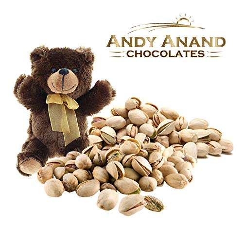 Andy Anand Chocolates- Premium California Organic Pistachios with light Sea Salt in a Premium Gift Basket Plus Teddy Bear, Slow Roasted made in Small Batches– 1 ()