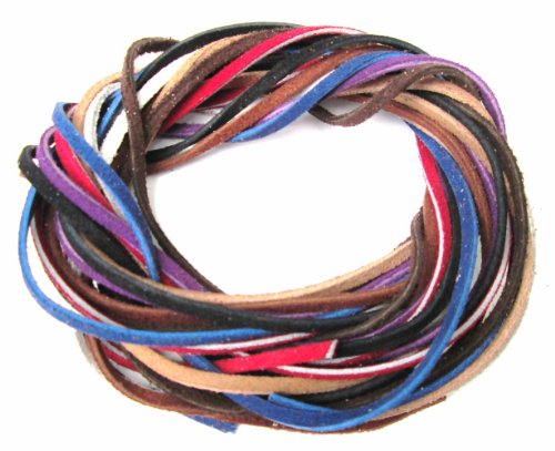 Lace Lacing Leather Suede Assortment Craft Kit; 8 Yards (1 Yard of each color shown)