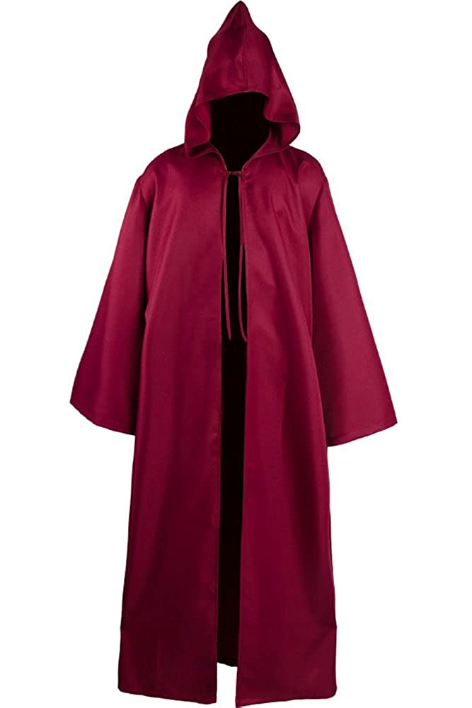 Cosplaysky Men Tunic Hooded Robe Halloween Costume Knight Cloak