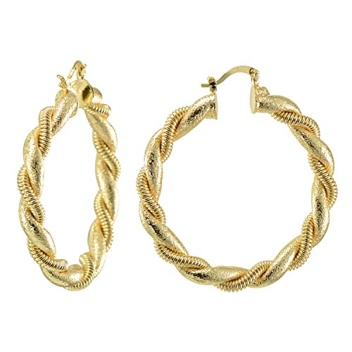 Gold Rope Twisted 14k (14K Yellow Gold Flashed Rope Twisted Creole Hoop Earrings 2 Inches Dia)
