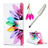 Sony Xperia L1 Case MAXFE.CO Xperia L1 PU Leather Case Shockproof Folio Flip Wallet Magnetic Stand Cover with Card Slots for Sony L1 & One Touch Pen & One Dust Plug, Flower Petals