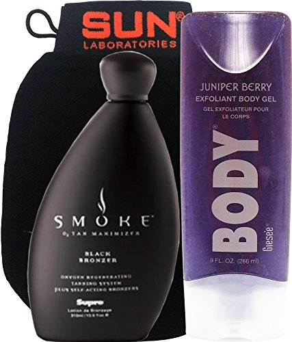 Supre Smoke Black Bronzer, Tanning Lotion, 10.5 oz | Juniper Berry Exfoliating Body Scrub 9 oz + Tan Removal/Exfoliating Mitt by Sun Laboratories - Self Tan Maintainer - Natural Tanning Lotion