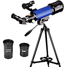 ExploreOne Kids Telescope, 70mm Apeture Astronomy Refracter Telescope 400mm AZ Mount , Travel Scope with Stable Tripod & Finder Scope, Portable Telescope for Children Educational &Beginners