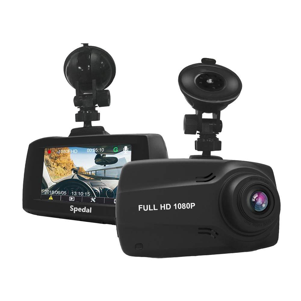 Dashcam Full HD 1080P Auto Dash Kamera mit GPS, DVR Fahrzeug on-Dash Kamera mit G-Sensor, Bewegungserkennung, Parkmonitor, Loop-Aufnahme, Nachtsicht(32G SD Karte Dabei) Spedal