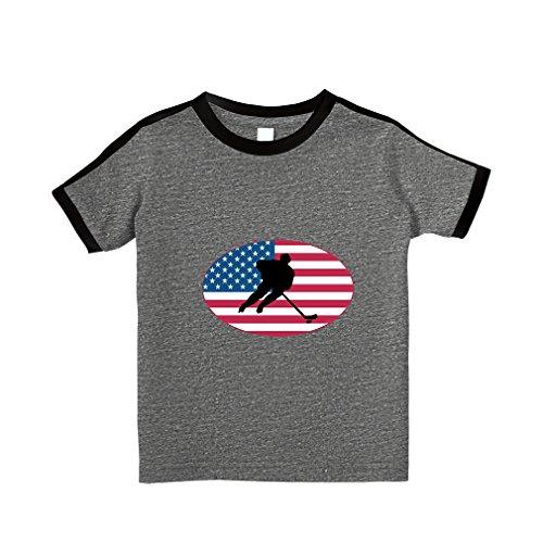 Hockey Crewneck (Cute Rascals Hockey Player USA Cotton Short Sleeve Crewneck Unisex Toddler T-Shirt Soccer Tee - Granite Heather, 3T)