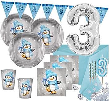 XL 79 Teile Pinguin Junge Deko Set in Hellblau und Silber 16 Personen Baby Party